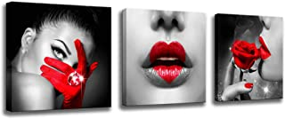 Wall Art For Bedroom Decor Black And Red Canvas Art Print Sexy Woman Lips And Red Rose Sexy Poster Stretching Ready To Hang Office Wall Art Hotel Bathroom Wall Decorations 12x12inc x 3 pieces