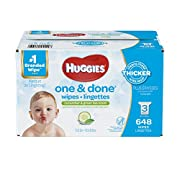 HUGGIES One & Done Scented Baby Wipes, Hypoallergenic, 3 Refill Packs, 648 Count Total