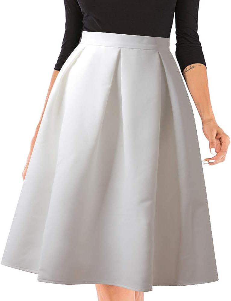 Urban GoCo Midi Jupe Pliss/ée de Femmes Vintage De A-Ligne Taille Haute Jupe Longue avec Poches