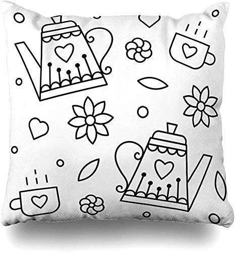 LOVE GIRL Teteras y Tazas para Colorear Cuadrado Decorativo Funda de Almohada de Tiro Dos Lados Impreso, Estilo de Moda Funda de Almohada con cojín con Cremallera 45x45 cm