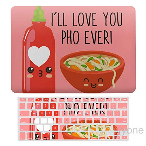 I'll Love You Pho Ever Plastic Hard Shell Case&Screen Protector with Keyboard Cover for New Pro 13 Touch