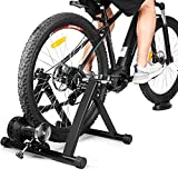 Turbo Trainer with 6 Level Variable Resistance Stationary Magnetic Bike Trainer for Indoor Riding, Foldable Carbon Steel Frame Cycle Training Stand for Road & Mountain Bicycles 24'-28' or 700C Wheel