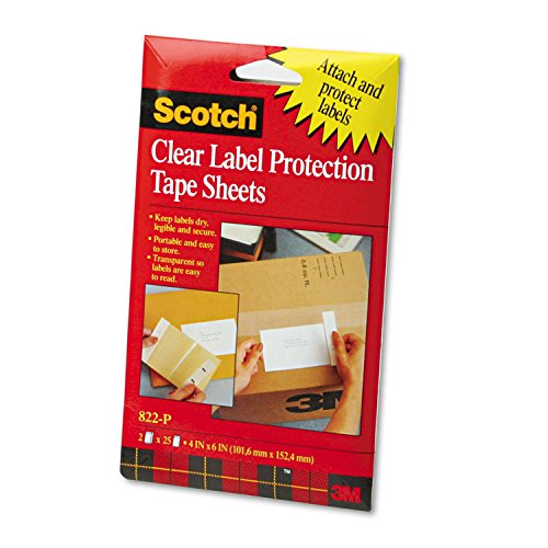 Scotch 822P ScotchPad Label Protection Tape Sheets, 4 x 6, Clear, 25/Pad, 2 Pads/Pack