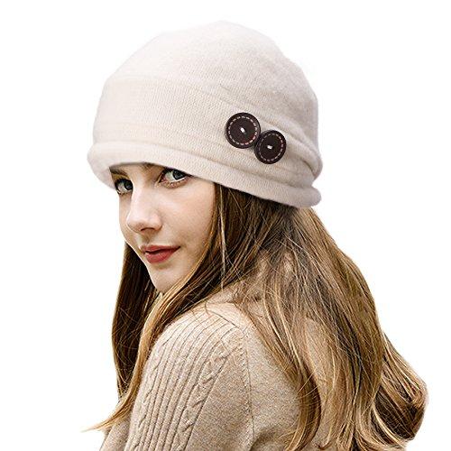 Gorro cloche para mujer, de la marca Lawliet, de lana y estilo vintage elegante Blanco Marfil Talla única