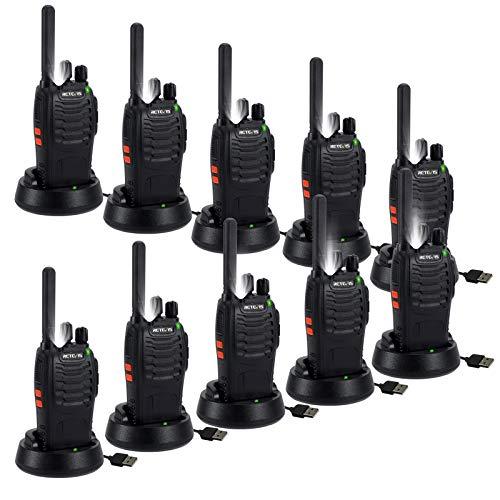 Retevis H777 Plus Walkie Talkie, Torcia LED, Ricetrasmettitore Ricaricabile a 16 Canali con Base di Ricarica, VOX, PMR446 Licenza-libero, Ricetrasmittenti per Magazzino, Ristorante (Nero, 10 Pezzi)