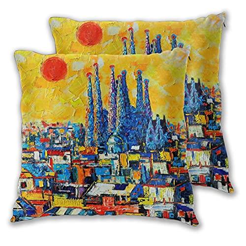 VINISATH Set de 2 Funda de Cojín 45x45cm Barcelona Sagrada Familia Resumen Panorama Ciudad Europea Fundas de Almohada para Cojines Decorativos para Sofá Cama Coche Hogar