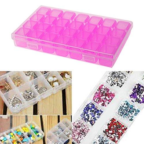 Domybest 28 emplacements Boîte de rangement en plastique Nail Art strass Outil Présentoir à bijoux