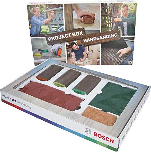 Bosch 15tlg. Projektbox Set (für Holz, Farbe und Metall, Zubehör für Schleifprojekte)