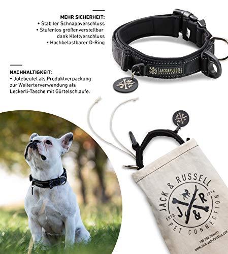 Premium hondenhalsband Milu - Klittenband - reflecterend - neopreen gevoerd - Hondenhalsband diverse maten en kleuren - Milu (L - halsomtrek 43,0-58,0 cm, Zwart)