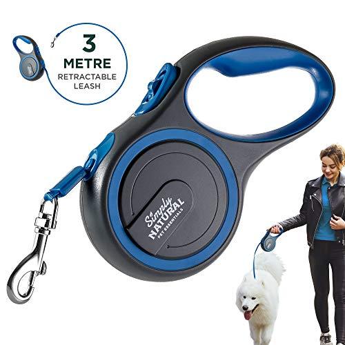 Hundeleine von Simply Natural - 3 Meter aufrollbare Hundeleine für Hunde bis 15 kg - 1-Knopf Stopper & Sperre für widerstandsfähige Hundeleine einziehbar