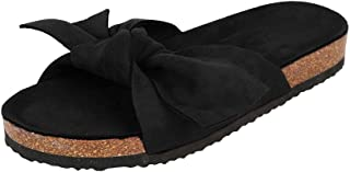 Womens Suede Bow Tie Slides Slip On Open Toe Sandals Beach Casual Flats