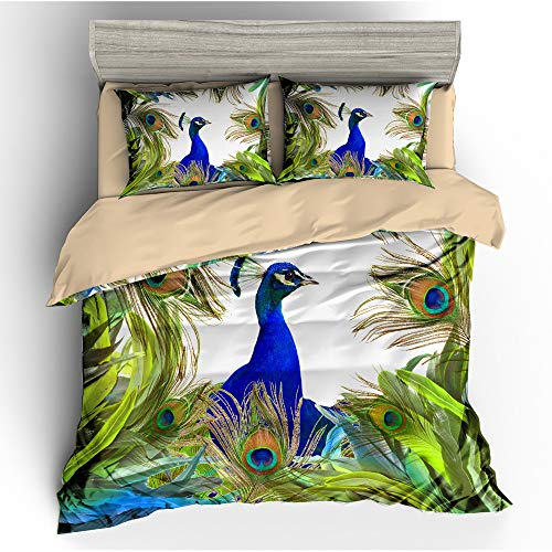 BH-JJSMGS Aquarell Pfau Gesteppte Bettwäsche, bedruckter Bettbezug und Kissenbezug, Peacock King 135x200cm