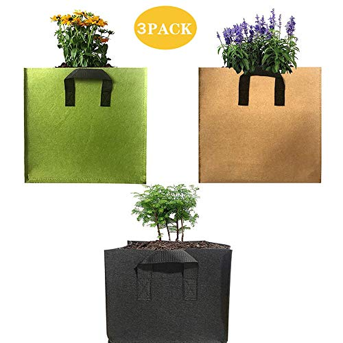 ZMHS Plant Bags 3 Pack Colorful Mix, Durable Grow Bags Nonwoven Aeration Fabric Pots with Handles Square Grow Containers for Vegetable Flower Nursery Gardening,3 Pack—4 gallons