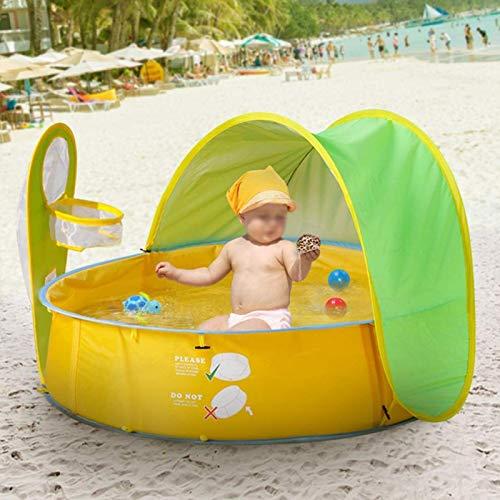 DAUERHAFT Carpa de Piscina Plegable Duradera portátil de plástico Anti-UV para natación Carpa de Playa Resistente al Desgaste para bebés y niños para Exteriores