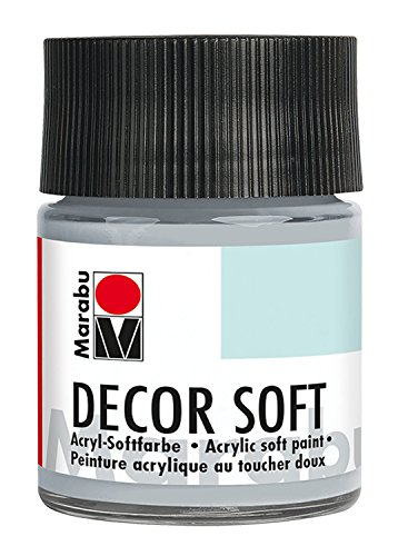 Marabu 14020005278 - Acryl Softfarbe, Decor Soft hellgrau 50 ml, auf Wasserbasis, lichtecht, speichelecht, schnell trocknend, sehr gut deckend, ergibt eine superweiche Oberfläche