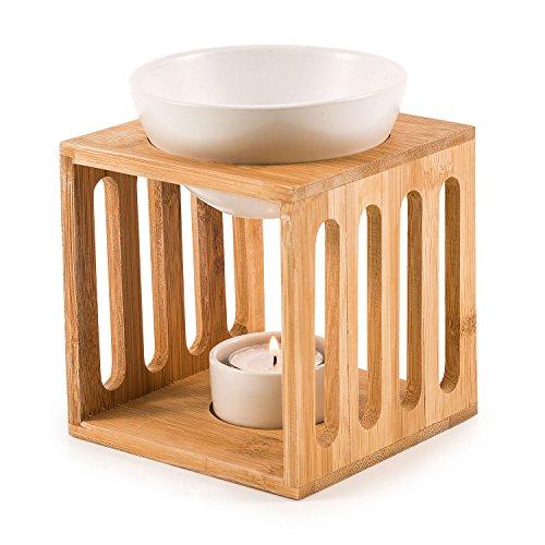 pajoma Bambus/Keramik Duftlampe ''Wellness'' Gr. M, L 9,4 x B 9,5 x H 9,5 cm