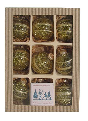 Krebs Glas Lauscha - Weihnachtsbaumschmuck - Glaskugeln - Goldene Kugeln gefüllt mit goldenem Lametta