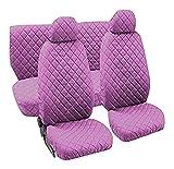 Lupex Shop trap_Ro - Juego de fundas de asiento universales, tejido acolchado, color rosa