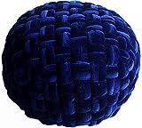 MAB Bequemer Sitzsack Strick.-Hocker Sitzhocker, Sitzpouf für modernes Wohnen, 55 cm - Bodenkissen handgeknüpft, Anwärter auf das Ökotex Zertifikat (Samt_blau)