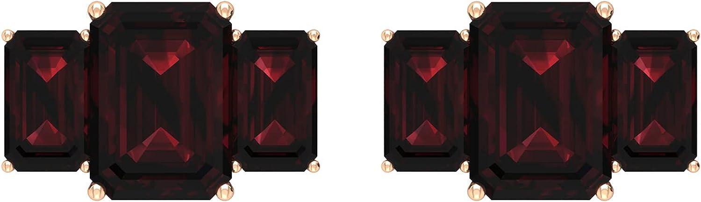 January Birthstone - 3.75 CT Octagon Cut Garnet Three Stone Stud Earrings (AAA Quality),14K White Gold,Garnet