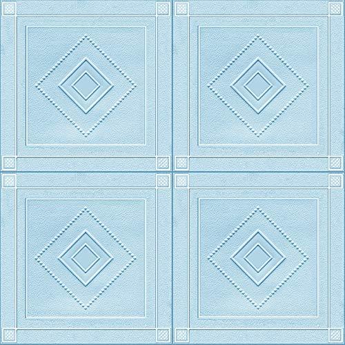 Shykey 70X70cm 3D Fliesen Ziegel Wandaufkleber, Hochwertige wasserdichte DIY Selbstklebende Schaumstoff-Tapete, Für Wohnzimmer Schlafzimmer,Blau,10Pcs