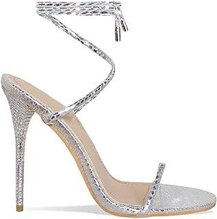 Hell&Heel Lace Up Diamante Stiletto