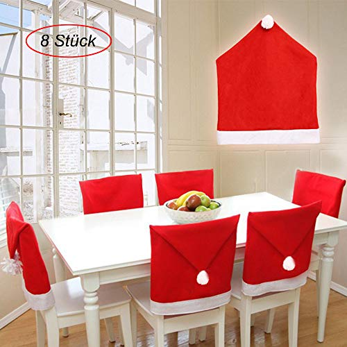 AcserGery Weihnachten Dining Stuhlhusse Weihnachtsdeko Nikolausmütze Stuhlabdeckung Stuhlbezug für Weihnachtstisch Dekoration (8)