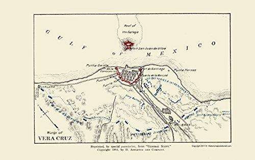 MAPS OF THE PAST War - Vera Cruz General Scott Siege - Appleton 1893-23.00 x 36.57 - Matte Canvas