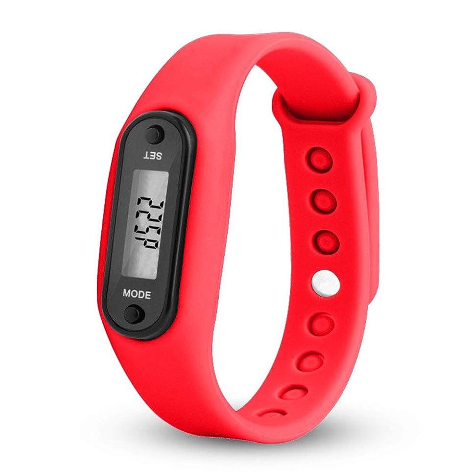 ACHICOO 歩数計 ウォッチ ファッション アウトドア シンプル スポーツ LEDデジタル ブレスレット ユニセックス レッド