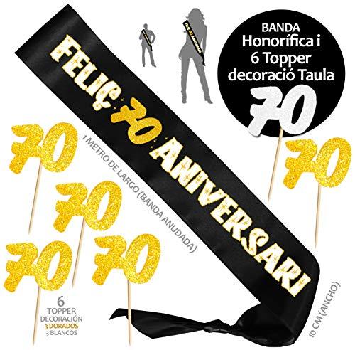 Inedit Festa Banda 70 Años Cumpleaños Banda Honorífica Feliç 70 Aniversari y 6 Topper (Català) 1949 Vas néixer
