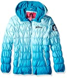 Weatherproof Girls' Big Cinched Bubble Jacket, Blue Dip Dye, 14/16