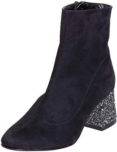 Bottines Femme avec Daim Noir Taille Nombre 36avec Talon Bas 5cm en Paillettes Made en  scl36 01
