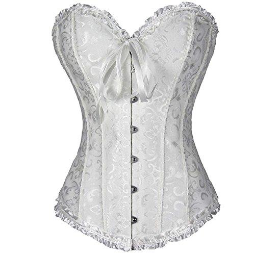 EZSTAX - Corsé de encaje para el vientre, estilo vintage, corpiño, para mujer Blanco XL (Ropa)