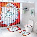 Feliz Navidad Decoraciones Accesorios de baño Juego de decoración de baño de Navidad que incluye cortina de ducha de Navidad, alfombras de baño antideslizantes para la decoración del hogar de Navidad