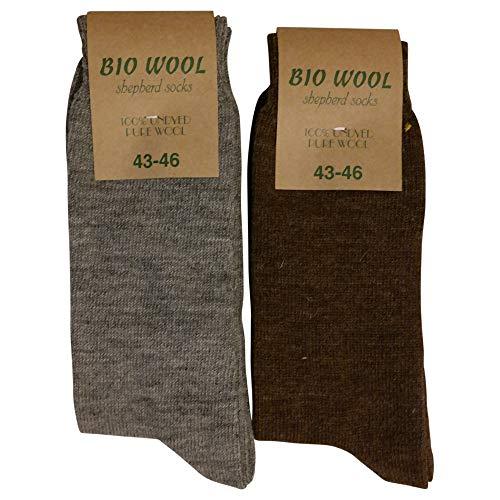 Lieblingsstrumpf24 2 Paar 100prozent Bio Natur Wolle Socken ungefärbte reine Wolle Grau und Braun (43-46)