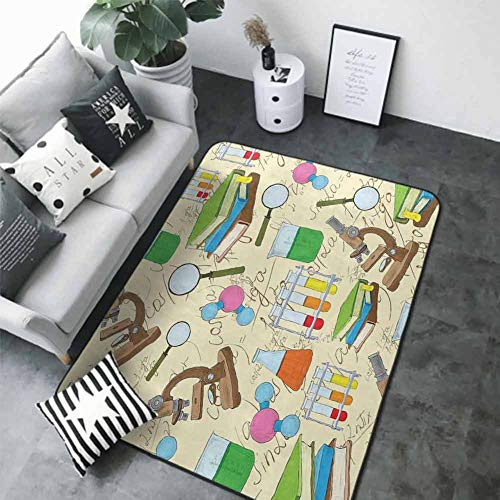 "Living Room Bedroom Carpets Kids,Science Education Lab Sketch Books Equation Loupe Microscope Molecule Flask Print,Multicolor 48""x 60"" Best Floor mats"