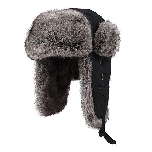 Kenmont Unisex in finta pelliccia invernale Russia Aviatore cappello trapper earflap bomber cappuccio, Nero, L-59,5 cm