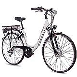 CHRISSON 28 Zoll E-Bike Trekking und City Bike für Damen - E-Lady Weiss mit 7 Gang Acera...