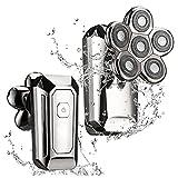 N\ A Maquinillas De Afeitar Eléctricas para Hombres USB Recargable Trimmer Rotativo Multi-Funcional Inalámbrico Impermeable Cabeza Calva Nariz De Pelo Afeitadores De Barba 18,7 x 11,2 x 7,5 cm/Plata