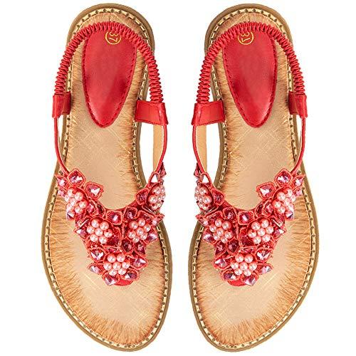 Ruiatoo Comfort Sandals for Women Bohemia T-Strap Ladies Summer Flats Sandals Rhinestone Flower Flip Flops Red 42