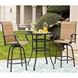 LOKATSE HOME 3 Pcs Patio Bar High Swivel Stools Set, 2 Tall Chairs and 1 Height Outdoor Bistro Table, Khaki