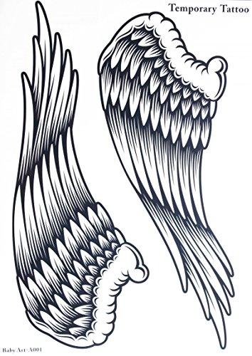 GGSELL GGSELL Tamaño del tatuaje 21,5 cm x 30,5 cm, no tóxico e impermeable, gran venta de alas de ángel, tatuaje temporal para mujer
