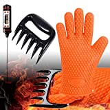 GlovesApparel BBQ-Grill-Gloves Cooking Heat Resistant Silicone Gloves with Meat Claws and Instant...