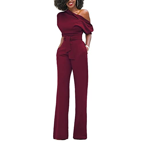 5e4923f6506 Eiffel womens one shoulder wide leg jumpsuits rompers long pants bodysuit  jpg 500x500 Burgundy and jumpsuits