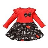 Vestidos Bebe Niña Día de San Valentín Estampado de Corazón de Amor Manga Larga Ropa Bebe Recien Nacido Niña Vestido para Niñas Infantiles (Rojo, 2-3 años)