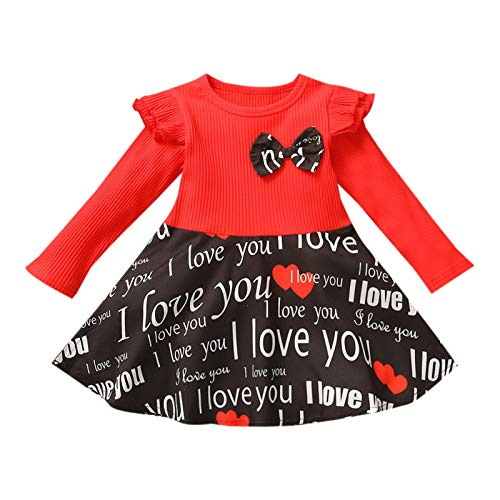 Daddy's Little Valentine Letter Printed Kids Dress Little Girls Love Heart Pattern Swing Dress Casual T Shirt Dress Children Girls Long Sleeve Ruffle Printed Red Dress Festival Swing Dress