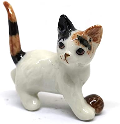 ZOOCRAFT Ceramic Figurine Cat with Ball Handmade Miniature Collectible Porcelain Standing