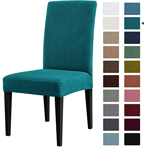 CHUN YI Dining Chair Covers Stretch Jacquard Slipcovers Anti-Stain Removable WashableParsons Chair Protector for Dining Room Banquet Ceremony Wedding Party Hotel Restaurant(2,Teal)