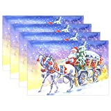 N\A Retro Papá Noel Manteles Individuales Árbol de Navidad Snow Table Mats Antideslizante Lavable Resistente al Calor Manteles Individuales Cocina Comedor Decoración Bandeja Tapete 12 'X