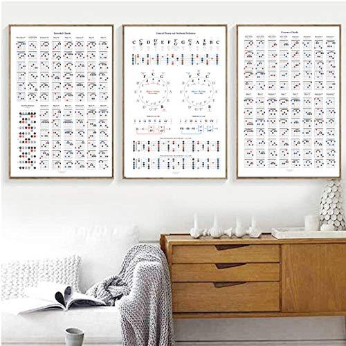 Gitaar Theorie Referentie Posters en Prints Muziek Liefhebber Geschenken Gitaar Koord Grafiek Poster Art Canvas Schilderen Thuis Muur Art Decor 50x70cmx3 ongekaderde